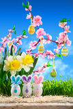 Rabbits easter with peach blossom Royalty Free Stock Photo