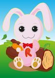 Rabbits eat carrots. Stock Photography