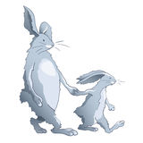 Rabbits family - dad and son Royalty Free Stock Image