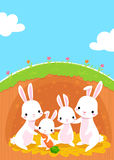 Rabbits family. Illustration of happy rabbits family in their sweet home Stock Photography