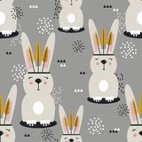 Rabbits with feathers, colorful cute seamless pattern stock illustration