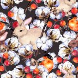 Rabbits, finch birds, cotton plant branches, red berries. Winter seamless background. Watercolor pattern. Rabbits, finch birds, cotton plant branches, and red Stock Image