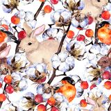 Rabbits, finch birds, cotton plant branches, red berries. Winter seamless background. Watercolor pattern. Rabbits, finch birds, cotton plant branches, red Stock Photography