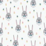 Rabbits and flowers Easter seamless pattern Royalty Free Stock Photos