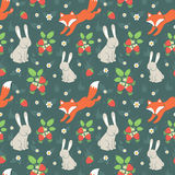 Rabbits and fox with seamless pattern Stock Photos