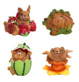 Rabbits and Fruit at Easter Stock Photos