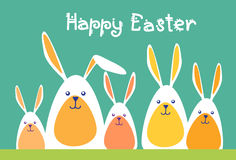 Rabbits Group Happy Easter Holiday Greeting Card Royalty Free Stock Image