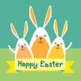 Rabbits Group Happy Easter Holiday Greeting Card Stock Photos