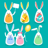 Rabbits Group Hold Banner, Colorful Eggs, Balloon, Carrot Happy Easter Holiday Set Collection. Vector Illustration stock illustration