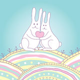 Rabbits with heart. Love Valentine card with rabbits vector illustration