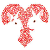 Rabbits and a heart mark. The couple of the rabbit and the heart of the rose design Royalty Free Stock Image