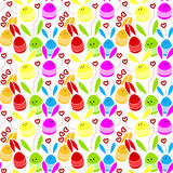 Rabbits with hearts seamless pattern Stock Photography