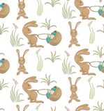 Rabbits ith basket pattern. Seamless pattern with rabbits and basket of easter eggs.  eps10 Royalty Free Stock Image