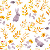 Rabbits, ladybugs, autumn forest. Seamless cute ditsy pattern. Watercolor Royalty Free Stock Photo