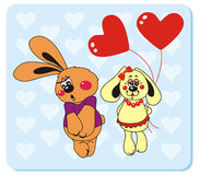 Rabbits in love. Vector illustration to Valentine's Day Royalty Free Stock Photos