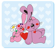 Rabbits in love 2. Vector illustration to Valentine's Day Stock Photography