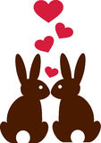 Rabbits in love with hearts Stock Image