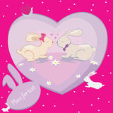 Rabbits love hearts vector card with place for text Royalty Free Stock Photo
