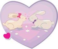 Rabbits love hearts vector illustration Stock Image