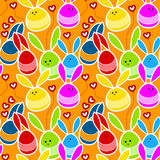 Rabbits in love seamless background Stock Photo