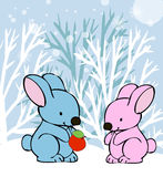 Rabbits in love winter card Royalty Free Stock Image