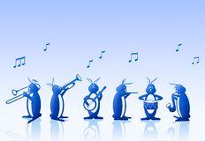 Rabbits Musical Band. Illustration of a band of rabbits playing different musical instuments Royalty Free Stock Photography