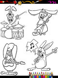 Rabbits musicians set cartoon coloring book Royalty Free Stock Photo