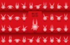 Rabbits with narrow eyes set royalty free illustration
