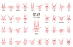 Rabbits with narrow eyes set white royalty free illustration