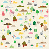 Rabbits and nature pattern texture background Stock Photo