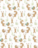 Rabbits pattern. Seamless pattern with rabbits and basket of easter eggs. vector eps10 Stock Photo