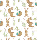 Rabbits pattern. Seamless pattern with rabbits and basket of easter eggs. vector eps10 Stock Photography