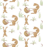 Rabbits pattern. Seamless pattern with rabbits and basket of easter eggs. vector eps10 Royalty Free Stock Photography