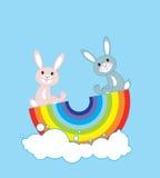 Rabbits on a rainbow Royalty Free Stock Photos