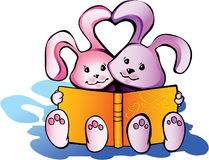 Rabbits Read A Book Stock Images