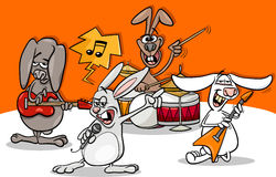 Rabbits rock music band cartoon Stock Photo