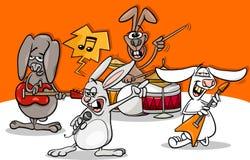 Rabbits rock music band cartoon Stock Photo