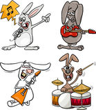 Rabbits rock musicians set cartoon Stock Photography