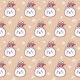 Rabbits in Santa's hats, seamless pattern Stock Photos