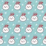 Rabbits in Santa's hats, seamless pattern Royalty Free Stock Image