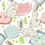 Rabbits seamless pattern Stock Photography