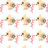 Rabbits seamless pattern and seamless pattern in swatch menu, v Royalty Free Stock Photography