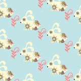 Rabbits seamless pattern and seamless pattern in swatch menu, ve Stock Photography