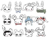 Rabbits set. Set of 12 cute vector fashion rabbits Royalty Free Illustration