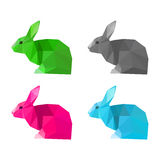 Rabbits set isolated on white . Abstract bright  polygonal geome Royalty Free Stock Photo