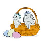 Rabbits are sitting in the basket. the concept of spring and the Easter holiday. vector illustration. Rabbits are sitting in the basket. the concept of spring Stock Photos