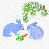 Rabbits and snow Christmas motive vector Royalty Free Stock Image