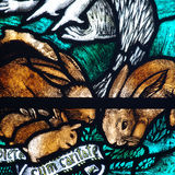 Rabbits in stained glass Royalty Free Stock Photo