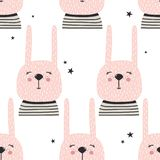 Rabbits and stars, seamless pattern vector illustration