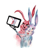 Rabbits take selfie royalty free illustration